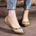 2017 Fashion women spring shoes rivets leather shoes pointed flats handmade retro shallow brush color