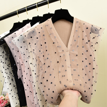 Women V-Neck Knitted Sleeveless Patchwork Dot Mesh Sweaters Cardigans Lady Knit Sweet Stretchy Thin Tank Top for Female pink scoop neck patchwork splited hem thin sweaters