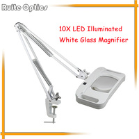 220V 10X Large Desk Clip on LED Illuminated White Optical Magnifying Glass LED Lamp Folding Stand Big Magnifier With LED Lights