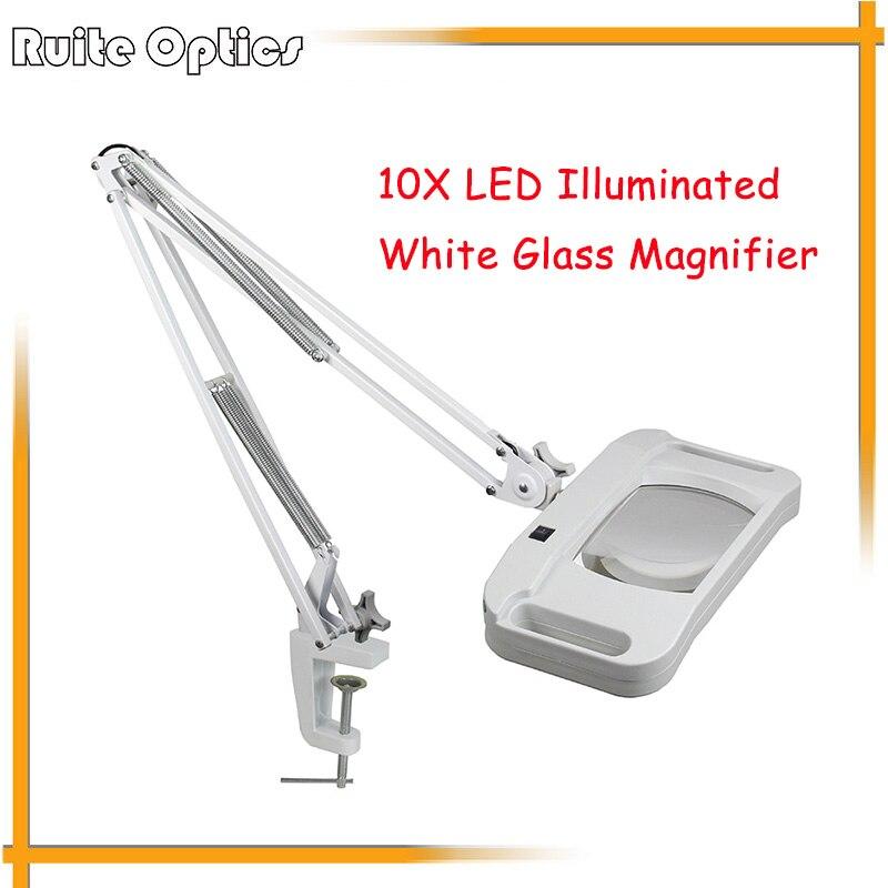 220V 10X Large Desk Clip on LED Illuminated White Optical Magnifying Glass LED Lamp Folding Stand Big Magnifier With LED Lights