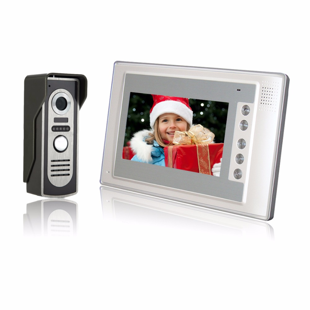 Home Security 7 inch TFT LCD Monitor Color Video Door Phone Intercom System IR Outdoor Camera Doorphone tmezon 4 inch tft color monitor 1200tvl camera video door phone intercom security speaker system waterproof ir night vision 1v1