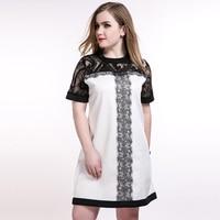 Vintage Lace Patchwork Dress Women Plus Size 6xl Clothing Summer Dress White A Line Dress Ladies