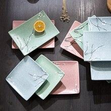 Japonés de cerámica Cuadrados platos de pescado plato de estilo Occidental de comida creativa casa pasteles de porcelana vajilla plato plano plato de SUSHI