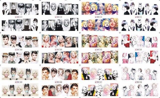 VENDA! 1 Lote = 20 folhas. 12 em uma folha de Estilo Novo Da Arte Do Prego Água Adesivo Marilyn Monroe e Audrey Hepburn em 2016 para BN025-036