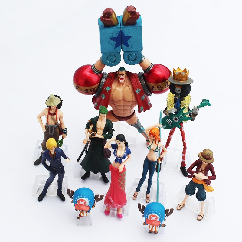 One Piece Action Figure Toys Luffy Nami Roronoa Zoro Figures Cartoon Anime Pvc Model Dolls For Boys Best Gift 10pcs/set brand new portrait of pirates one piece roronoa zoro 23cm pvc cool cartoon action figure model toy for gift kids free shipping