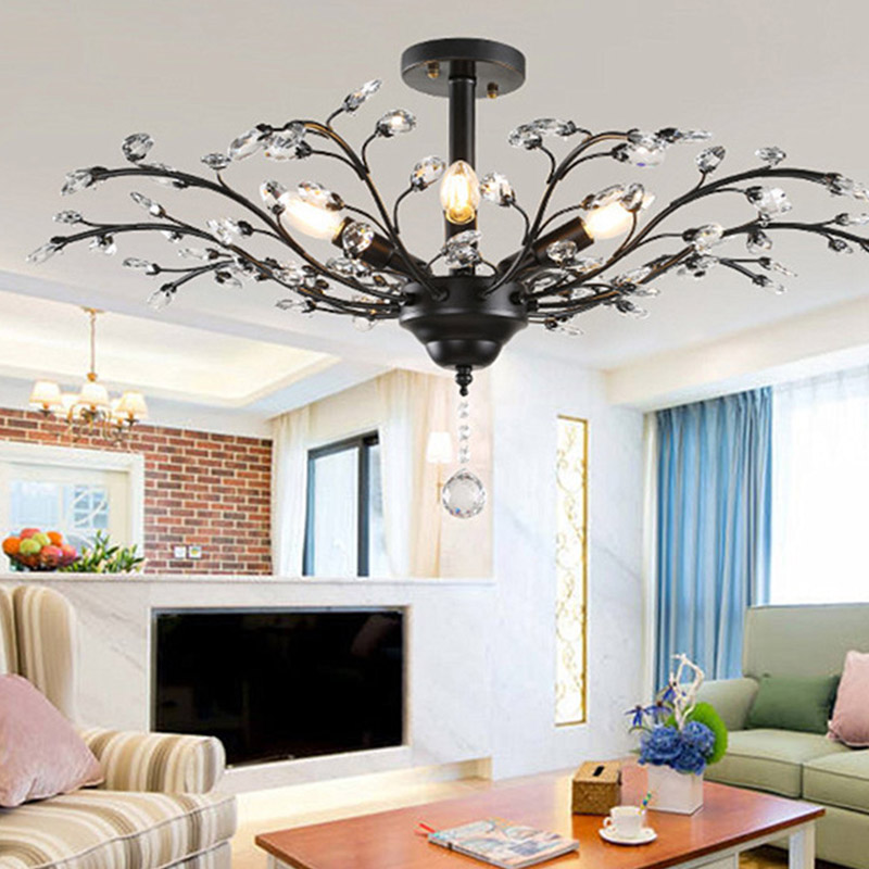 Modern American crystal ceiling light E14 LED creative personality ceiling lamp for living room bedroom hotel hall restaurant modern fopyer hall bedroom living room led ceiling lamp creative fashion led ceiling light luck ring series 8 heads page 8