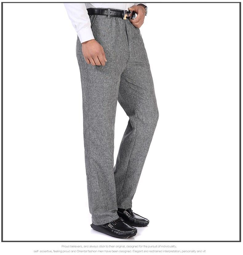 Summer Spring Man Linen Pant Dark Gray Business Casual Trouser Male Plus Size Elastic Band Waist Pantalones Homme Office Pant Plus Size (10)