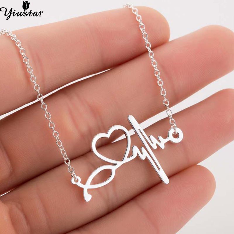 Yiustar Fashion Stethoscope Heartbeat Necklace Necklacs Women Jewelry Stainless Steel ECD Wave Heart Necklace Pendants collier(China)