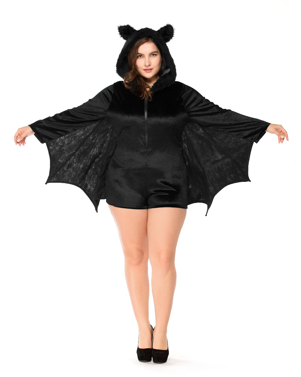 plus size Animal Cosplay Cute Bat Costume Kids Halloween Costumes Black Zipper Jumpsuit Connect Wings Batman Cloth A007