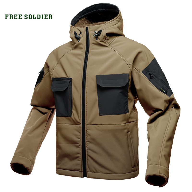 FREE SOLDIER tactical waterproof soft shell hiking jacket hairy male military fans warm autumn and winter