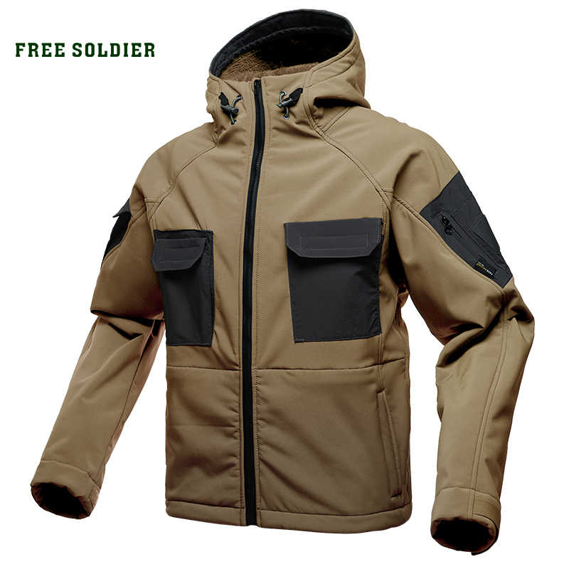 FREE SOLDIER tactical waterproof soft shell hiking jacket hairy male military fans warm autumn and winter coat large size