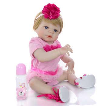 23 Inch Baby Reborn Full Silicone 57 cm Fashion Newborn Baby Doll Lifelike Simulation Doll Toy For Children\'s Day Gift Can Bathe