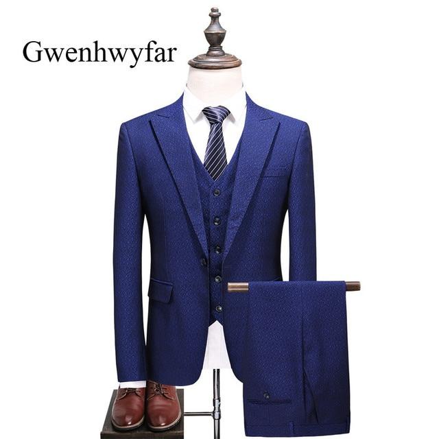 Gwenhwyfar patrones de flor azul hombres trajes 3 unidades Slim Fit  smokinges del novio mejor hombre 254870357f1