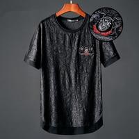 New summer ice silk short sleeved men's T shirt Personalized Jacquard Mercerized Cotton Round Collar Large Size Black t Shirt