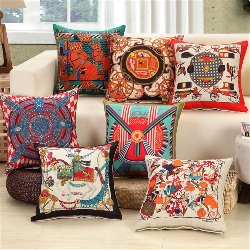 45x45cm Ethnic National Style Pillow Case Textile Vintage Carriage Totems Pillow Cover NOT Including inside filler