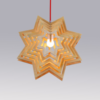 Multiple Snow Flake Stars Wood Pendant Light Fixtures American Loft Antique Retro Holiday Lamp Design for Restaurant Dining Room