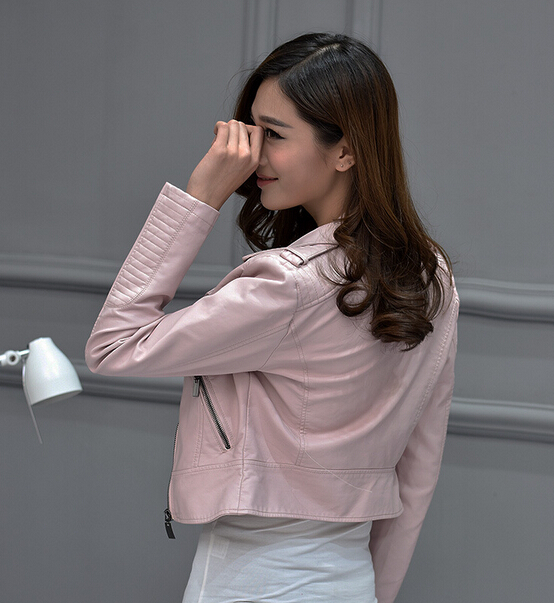 New 2017 fashion pink little leather ladies short leather jacket pu locomotive lapel short jacket