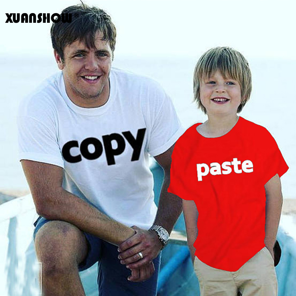 XUANSHOW Cotton Tops Tee Summer season Type Household Matching Outfits Father or Mom and Son Copy Paste Letters Household Look T Shirt Matching Household Outfits, Low cost Matching Household...