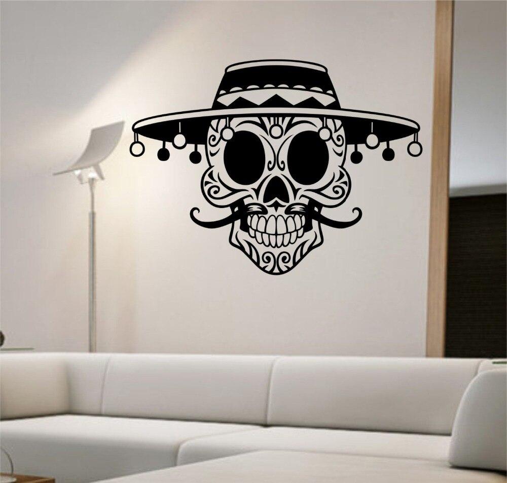 Wallpaper iphone kumis - Dsu Removable Rumah Dekorasi Gula Tengkorak Dengan Topi Kumis Vinyl Dinding Decal Stiker Seni Dekorasi Kamar