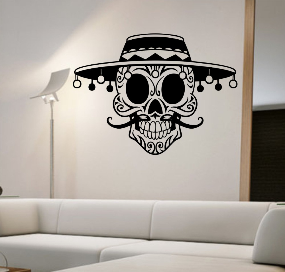 Skull Bedroom Decor Online Get Cheap Sugar Skull Wall Decal Aliexpresscom Alibaba