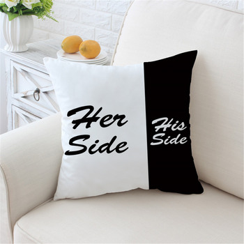 His & Her Side Cushion Covers Black and White Best Children's Lighting & Home Decor Online Store