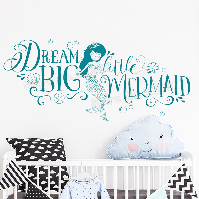Dream big little mermaid wall decal for kids bedroom girls - Childrens bedroom wall stickers removable ...