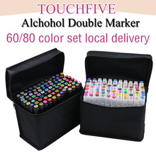 Touchfive маркеры наборы для ухода за кожей 60/80 цвета жирной алкоголь маркер рисования manga кисточки ручка анимация дизайн товары для рукоделия Marcador
