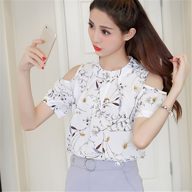 ff3d30c75c5404 2017 Summer Women Chiffon Blouse Shirt Casual Shirt Shoulder Off Female  Blouses elegant Short Sleeve Floral Print Tops blusas