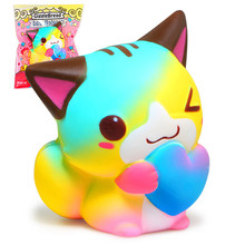 Kawaii Squishy 15CM Colorful Heart Cat Bread Scented Cake Kid Toy Gift Super Slow Rising Soft Squeeze Stress Original Package