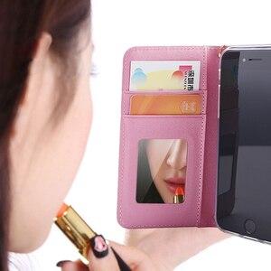 Image 4 - Étui pour iphone à rabat en cuir de luxe Xs 11 pro MAX XR X 8 7 6s Plus miroir à la main étoiles Rivet portefeuille couverture de livre lanière gland