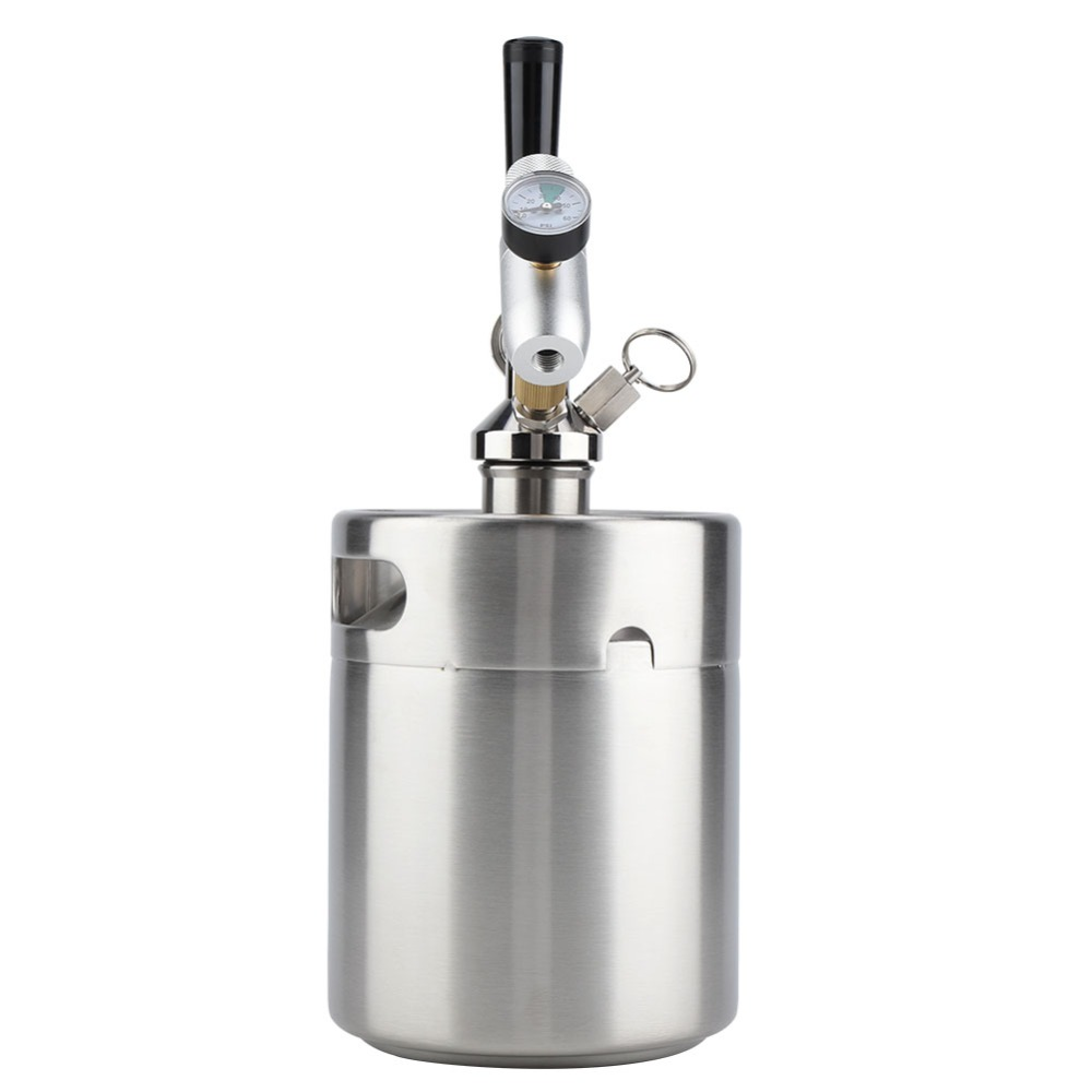 2L Stainless Steel Beer Mini Keg With Pressurized Faucet 11