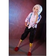 Anime tóquio ghoul cosplay juzo suzuya rei cosplay traje conjunto completo (branco/rosa camisa calças tiras joelho) feito sob encomenda