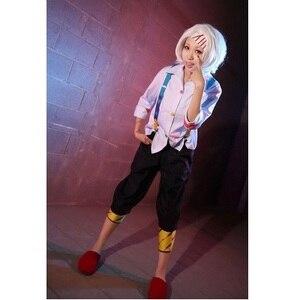 Image 1 - Anime tokyo ghoul Cosplay juzo suzuya Rei Cosplay kostium pełny (zestaw) (biały/różowy koszula spodnie paski rzepki) wykonane na zamówienie
