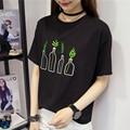Harajuku Japonesa Botella de Impresión de la Historieta Sudadera Camiseta Floja Bordado Camiseta Femme Verano Mujeres Casual Manga Corta GirlsTops