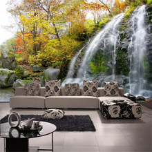 цены 3d room photo wallpaper custom mural non-woven wall sticker stone waterfall photo painting TV background wall 3d wallpaper