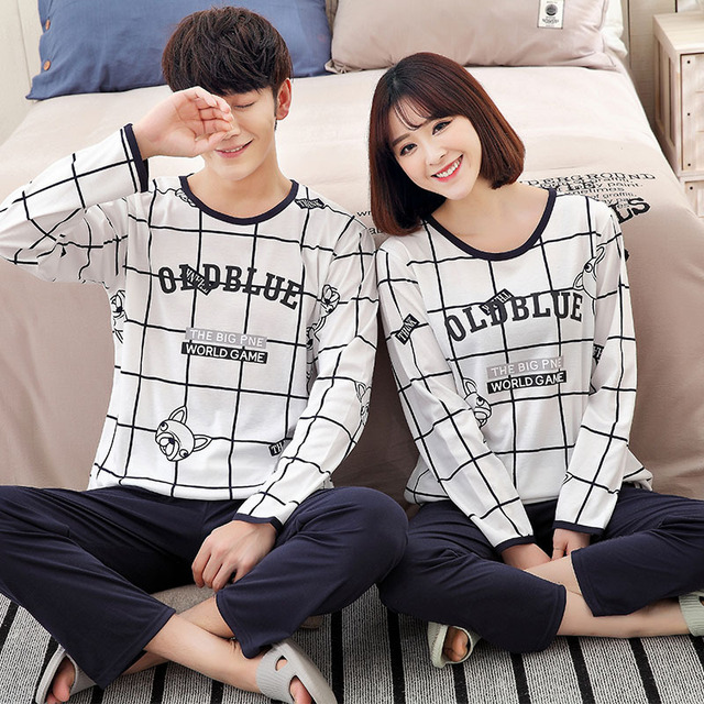couples Pajamas Long-sleeved Modal Lovers Pyjamas for Couple Style Sleepwear Plaid Cardigan Pajamas Men Lounge Pajama Sets XXXL