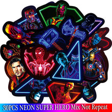 30PCS Marvel The Avengers Neon Stickers Sets Cartoon Anime Sticker For Laptop Fridge Phone Guitar Super Hero Stickers Pack(China)