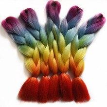 Chorliss 24″(65cm) Jumbo Synthetic Crochet Hair Extension Ombre Braiding Hair Straight Crochet Braids Rainbow Color 100g 1pc