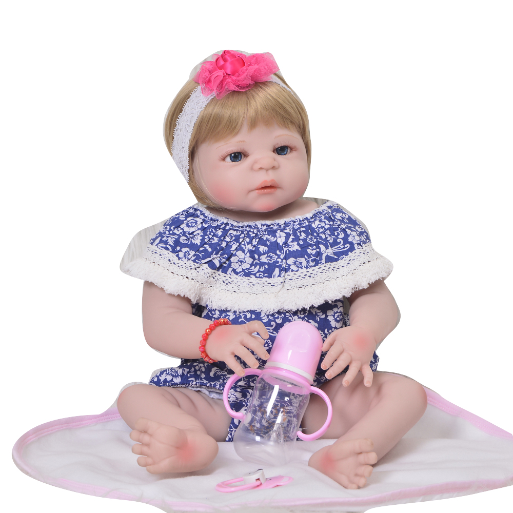 Fashion 23'' 57 cm Full Silicone Vinyl Girl Baby Doll Realistic Princess Reborn Doll For Children's Day Gift Kids Best Playmate 2016 hot now fashion original edition sofia the first princess doll vinyl toy boneca accessories doll for kids best gift