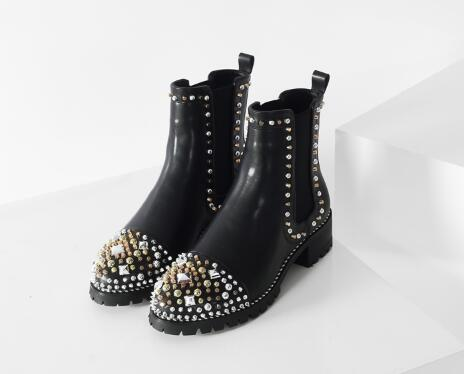 Crystal decorated round toe low heel ankle boots for women Black chunky heel short boots for ladies Female martin boots black blue round toe low heel ankle boots for women ladies spring and autumn short boots fashion boots female dress shoes