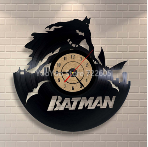 Batman Clock 3D Wall Clock Batman Clock Vinyl Record Creative Hanging Clock Residential Decoration – Decorate your home