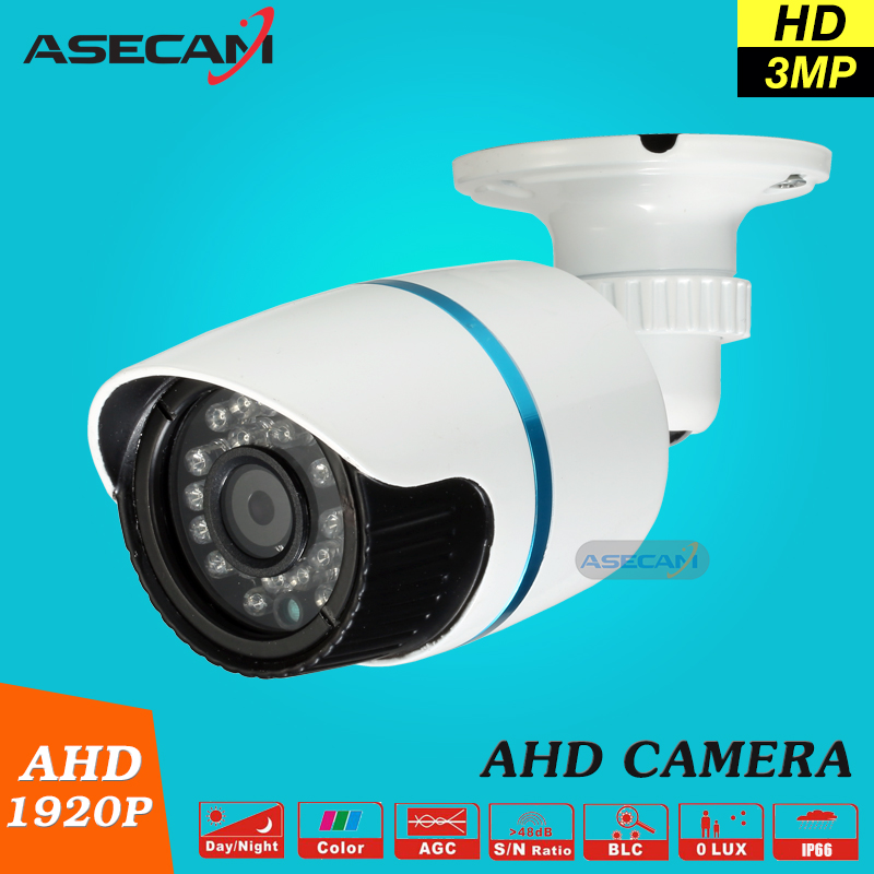 Super HD AHD 3MP Security Camera Outdoor waterproof White Metal Bullet 1920P CCTV Security Surveillance Free shipping low illumination hd 1 3mp cctv 960p ahd camera 3000tvl outdoor waterproof mini small metal white bullet ir security surveillance