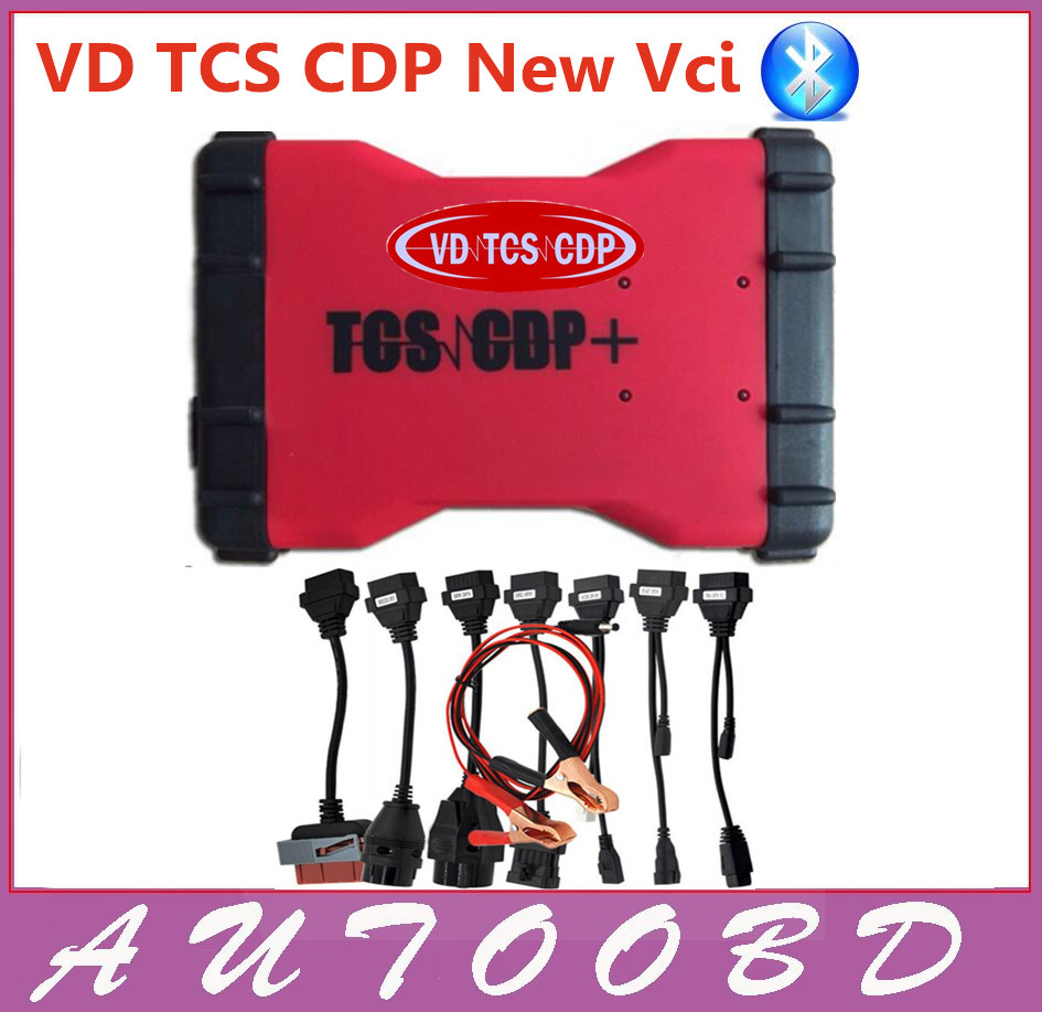 2017 Latest 2014 R2 VD600 Red VD TCS CDP plus Bluetooth+with Full sets 8 pcs car cables OBD OBD2 Diagnostic Tool--DHL free ship! with bluetooth japen nec relay latest new vci vd tcs cdp pro bt obd2 obdii obd with best pcb chip green single board