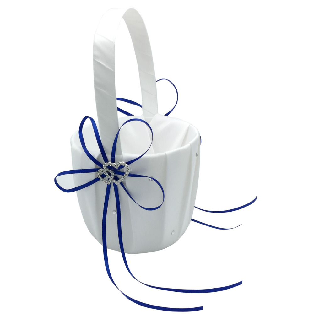 2pcsset Royal Blue Wedding Ceremony Decorations Satin Ring Pillow