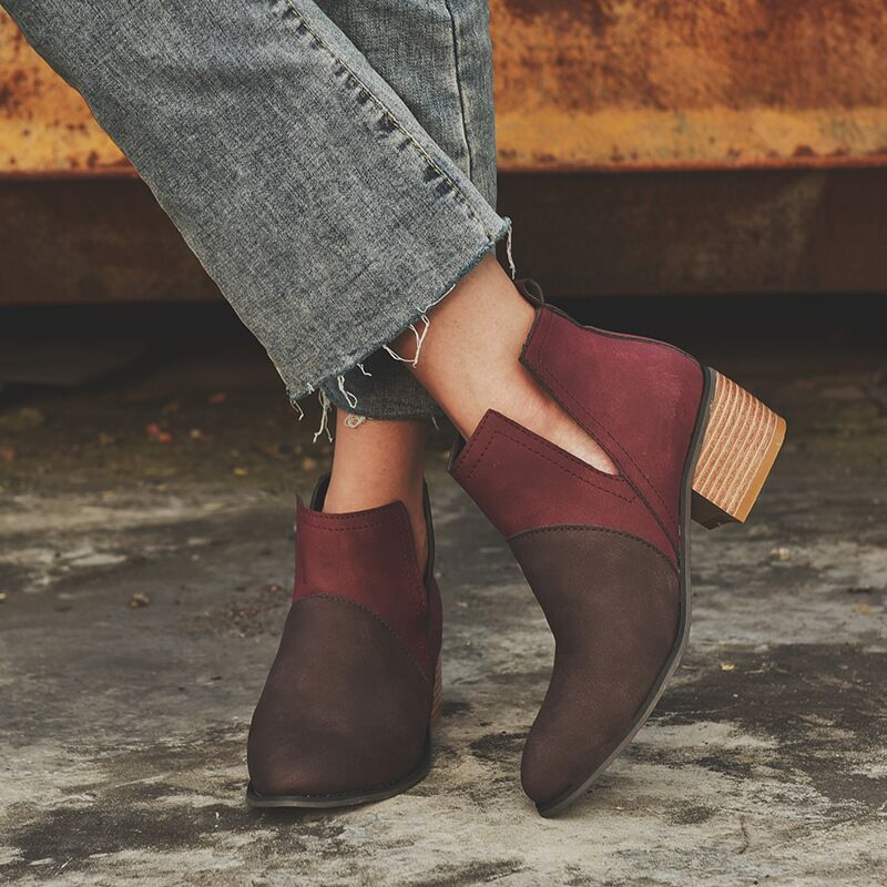 2019 Chic Women Shoes Retro High Heel Summer Autumn Boots Female Mid Heels Casual Ankle Boots Botas Mujer Booties Feminina in Ankle Boots from Shoes