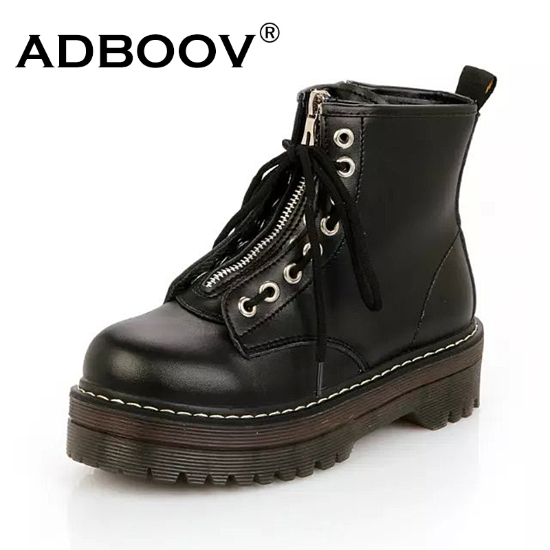ADBOOV Quality PU Leather Platform Ankle Boots Women Zip Flat Martin Boots Cow Muscle Sole Winter