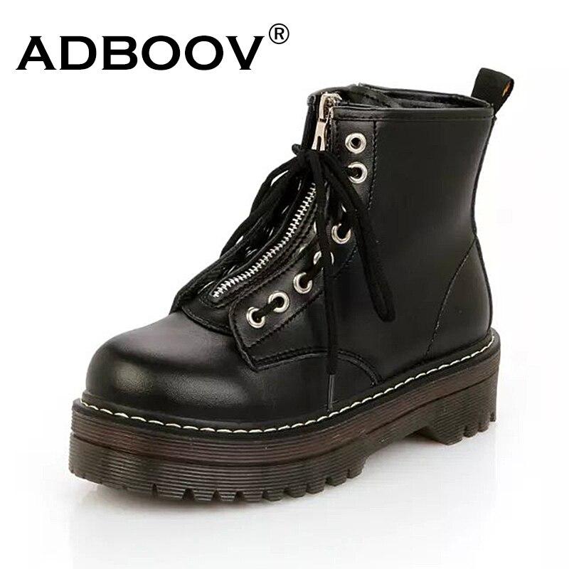 ADBOOV calidad de cuero de la PU botas del tobillo de la Plataforma de las mujeres Zip plano botas Martin botas suela de músculo de vaca zapatos de invierno mujer Chaussures Femme