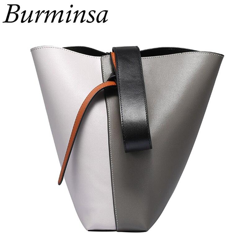 Burminsa Chic Bicolor Cow Split Leather Shoulder Bags Women Luxury Shopper Bags Designer Handbags High Quality