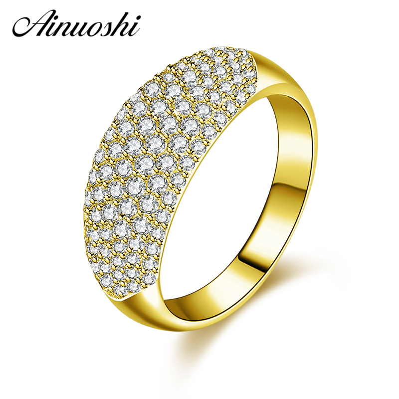 AINUOSHI 10K Solid Yellow Gold Men Wedding Band Shinning Rows Drill Cluster Band Ring Luxury Engagement Jewelry for Woman Male цена и фото