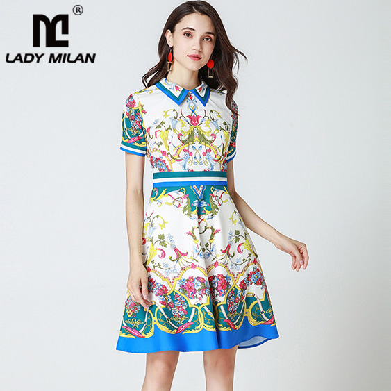 New Arrival Womens Turn Down Collar Short Sleeves Printed High Street Fashion Designer Casual Dresses